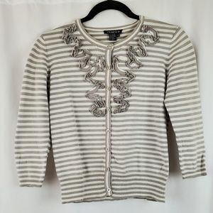 Tracy M Striped Ruffle Button Up Sweater